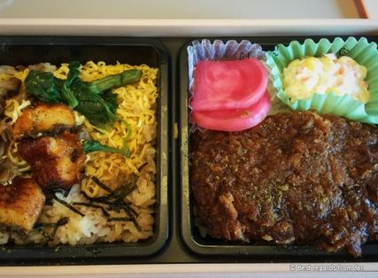 A hearty bento: this ebiken is to be eaten in the sinkansen train, Japan.
