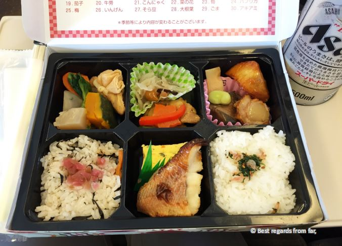 Bento lunchbox showing a delicious variety of food, Japan.