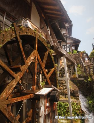 Wooden waterwheel in Japan.