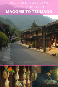 Emptpy street of the old Japense town Tsumago with traditional Japanese houses in the mountains.