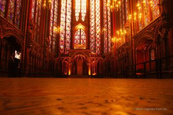 Interior of Saint Chapelle early morning with its most extensive 13th century windows