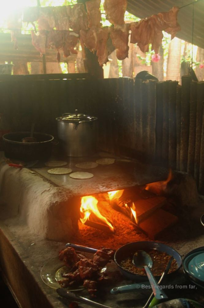 The local restaurant where forest wood is used for cooking daily, Carmelita, Guatemala