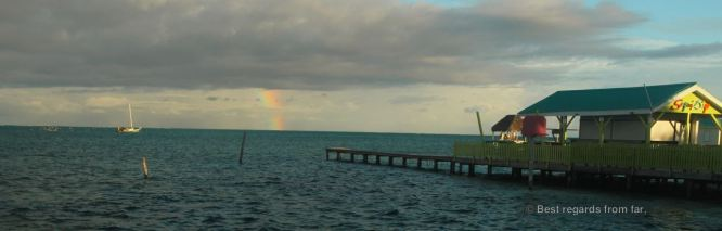 A rainbow at sea, Caye Caulker, Belize