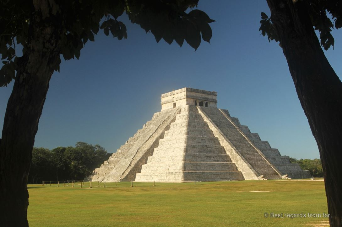 The imposing El Castillo, or Temple of Kukulkan, in Chichén Itza, Mexico. With no tourists.