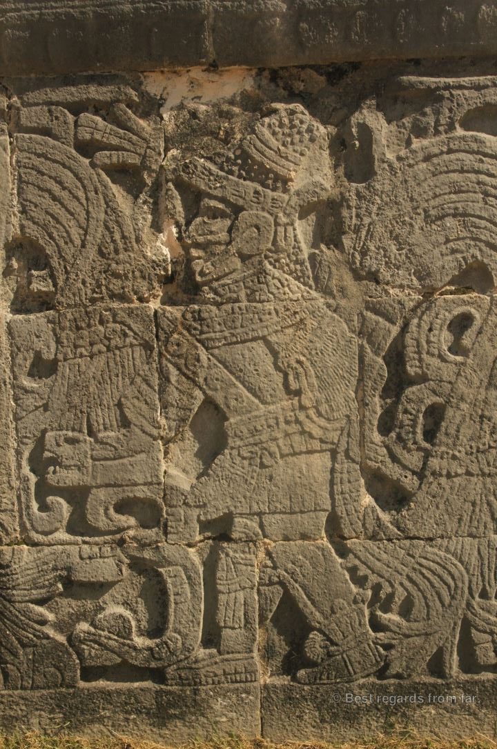 Details of a bas-relief showing a warrior, Chichén Itza