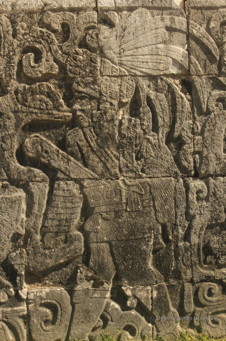 Details of a bas relief showing a warrior in Chichén Itza, Mexico