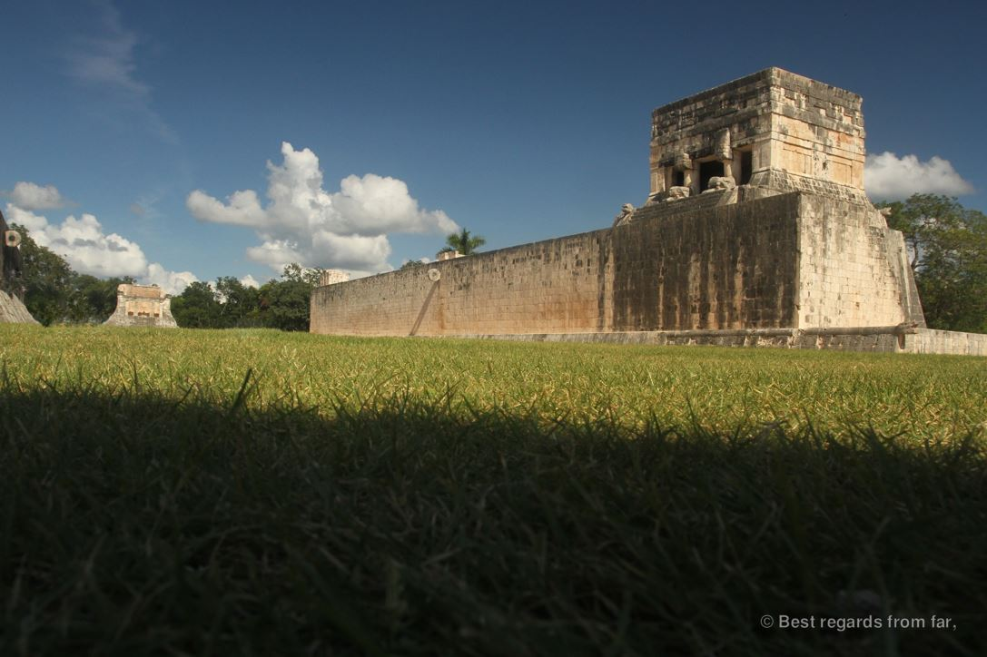 The Great Ball Court of Chichén Itza, the largest in Mesoamerica with the stone hoop and the temple of the jaguars.