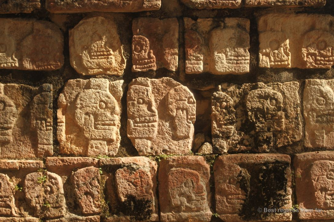 Details of the Skull Wall bas-relief in Chichén Itza, Mexico.