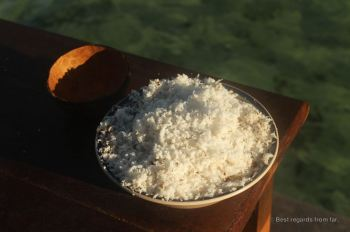 Freshly graded coconut meat