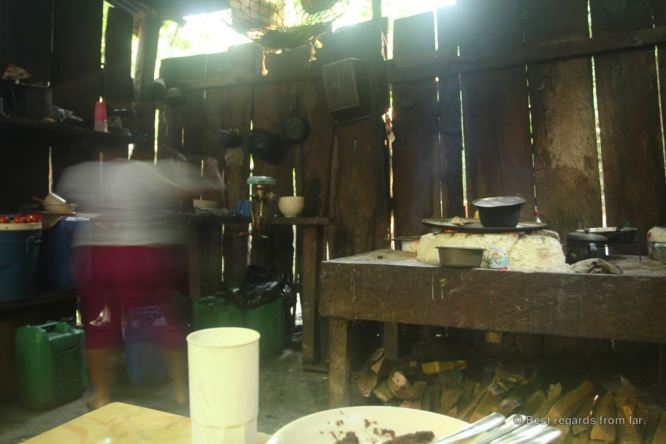 The kitchen of the camp in El Mirador, Guatemala