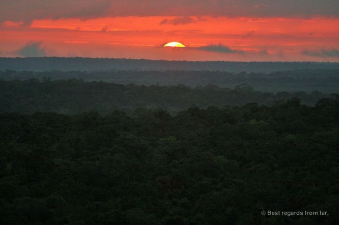 Sunset over the jungle in El Mirador, Guatemala