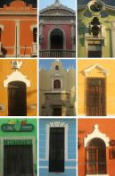 The colours of Mérida, Mexico: collage of painted façades