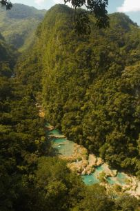 The natural limestone pools of Semuc Champey from El Mirador