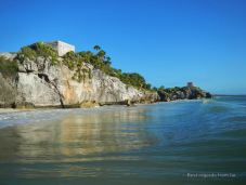 Early morning swim to capture the magnificent setting of the ruins of Tulum