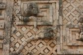 Details: feathered snakes with open fangs, Uxmal, Mexico