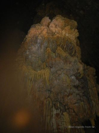 Stalactites inside the waterfall cave, Belize