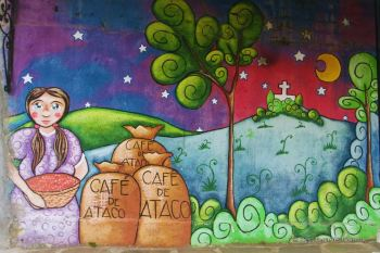 Coffee harvesting on murals, Ataco, Ruta de las Flores, El Salvador