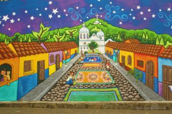 The village of Ataco, Ruta de las Flores, on a mural, El Salvador