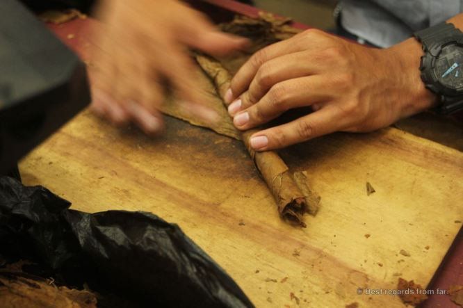 The guy's job: pre-shaping the cigar, Drew Estate, Esteli, Nicaragua