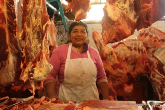 Our proud butcher on the market of Totonicapan, Guatemala