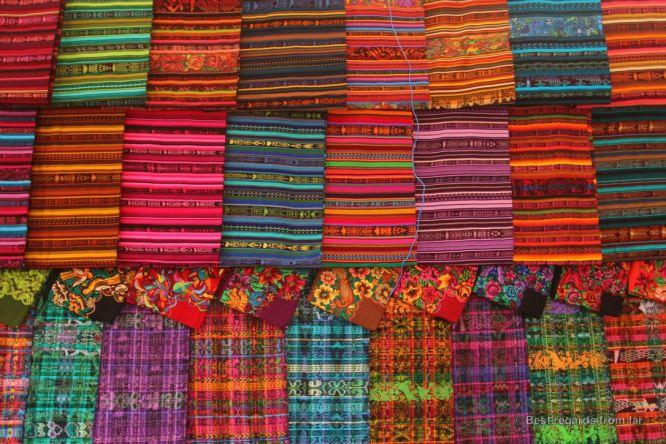 Colourful fabrics on the market of Solola, Guatemala