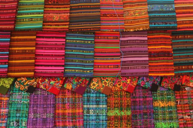 Colourful fabrics on the market of Solola, Guatemala
