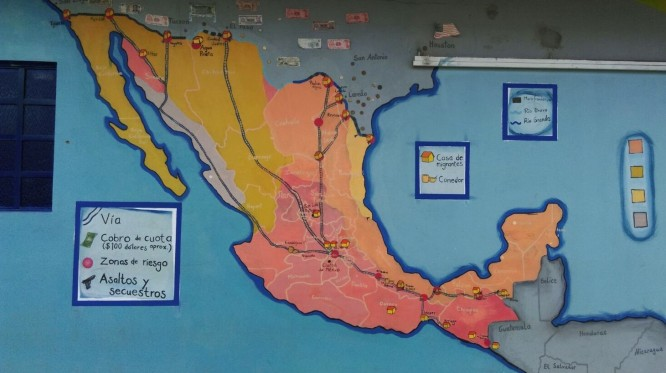 Map describing the route for migrants with dangers