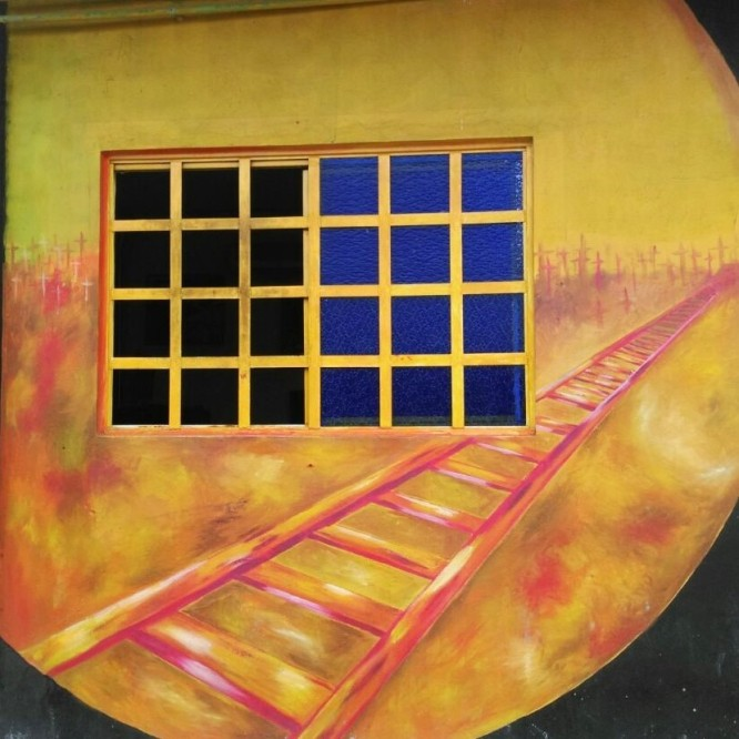 Mural of the train tracks of La Bestia, Tenosique