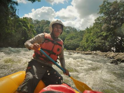 Our indigenous guide, Umberto, focused on the Chiriqui Viejo river, Panama
