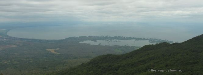 The peninsula of las Isletas from the Mombacho volcano, Nicaragua