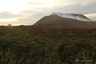 Sunset on the crater of the Telica volcano, Nicaragua