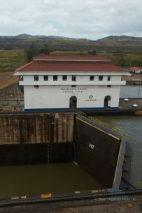 The Miraflores lock, Panama Canal can be observed