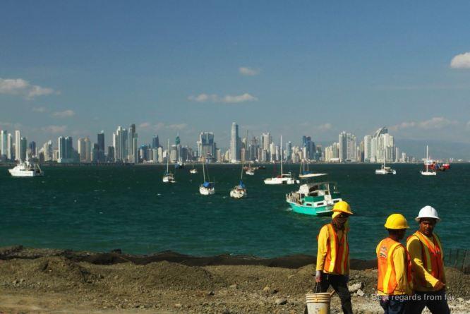 Skyline of Panama City, still under construction