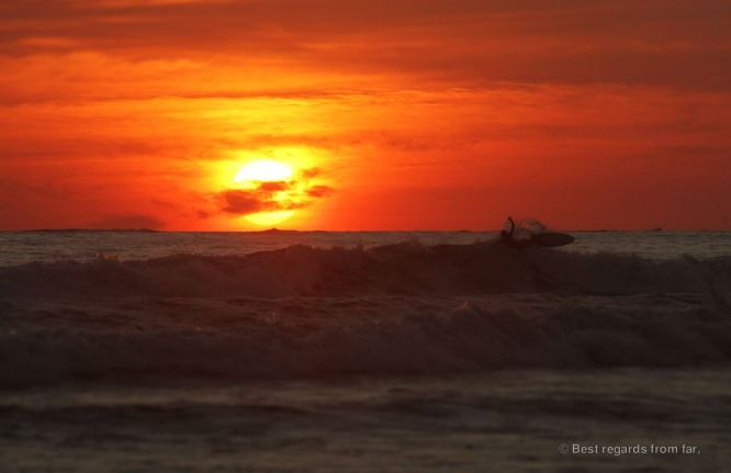 Surfing until the sun goes down, Uvita, Costa Rica