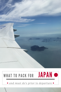 White airplane wing above the clouds in blue skies, text about what to pack for Japan.