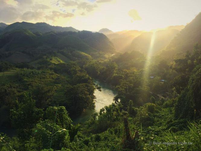 Sunset at Semuc Champey, Guatemala.