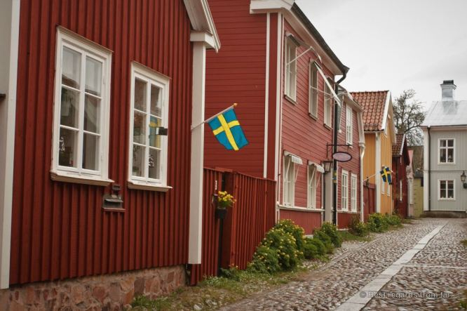 One of the many cute streets of Old Gavle, Sweden