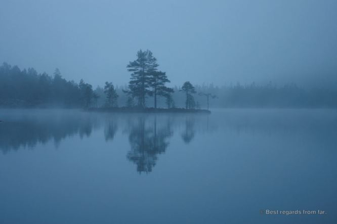 Misty lake on the High Coast trail, Sweden
