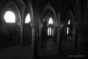 The room of the knights in the abbey of the Mont Saint Michel, France