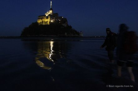 Crossing the bay of the Mont Saint Michel by night, France