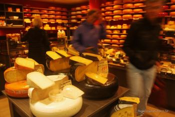 Dutch cheese ready to be tasted at the store, The Netherlands