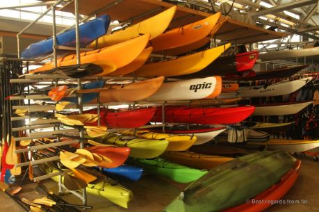 The gear room at the Manhattan Kayak Company, New York City