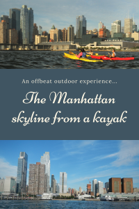 Manhattan skyline from a kayak - Pinterest Pin - NYC - USA