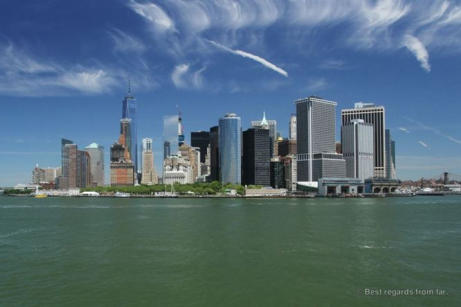 View on the Manhattan skyline from the Staten Island Ferry, New York City