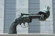 One of the original Non-Violence bronze sculpture by the Swede Carl Fredrik Reuterswärd, UN HQ, New York City