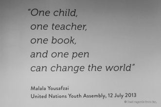 "Malala Yousafzai quote: ""one chid, one teacher, one book"". United Nations headquarter, New York City."