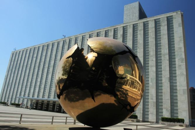 Sphere within a Sphere, by the Italian Lamberto Dini, United Nations headquarter, New York City.