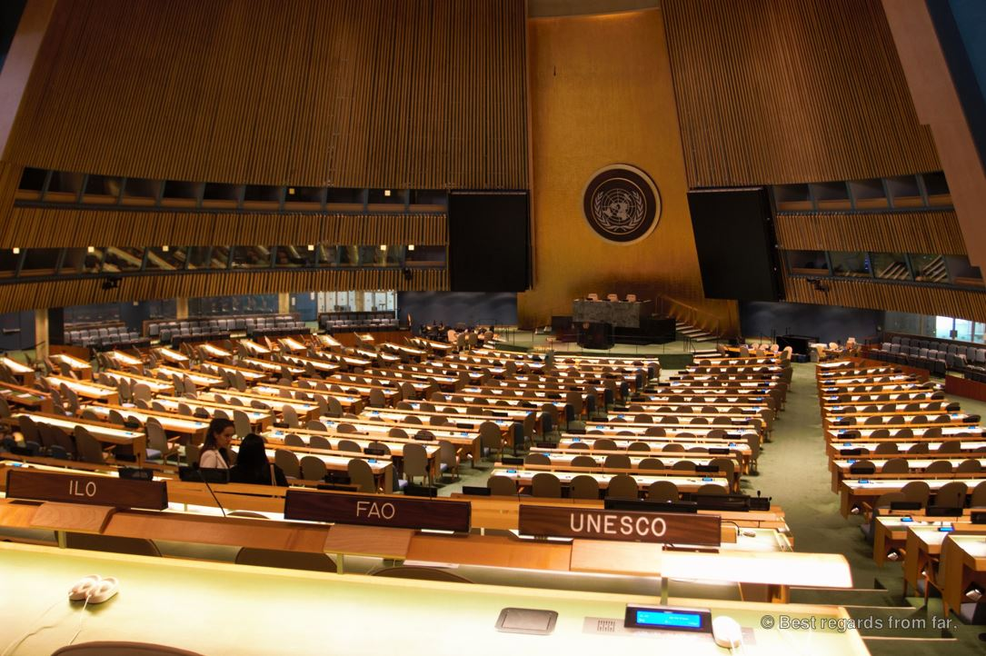 The General Assembly Chamber, United Nations headquarter, New York City.
