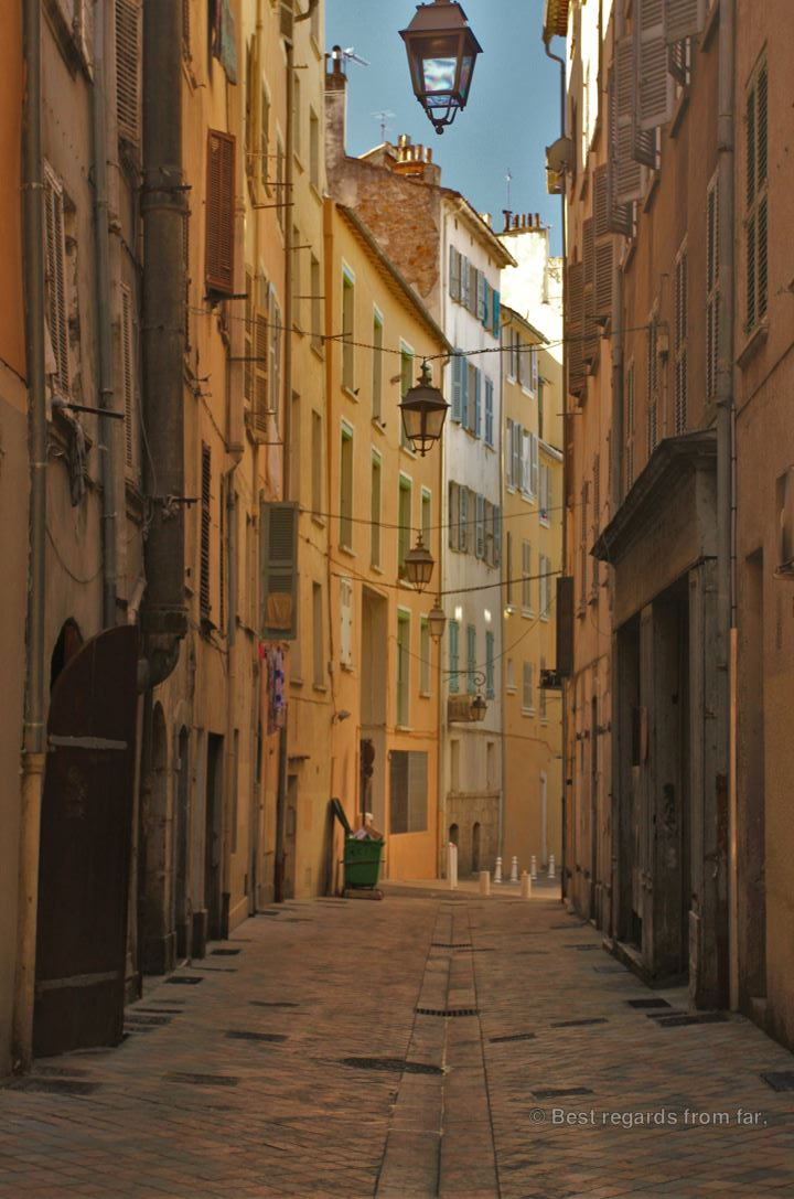 A tupical medieval street in Toulon, French Riviera.