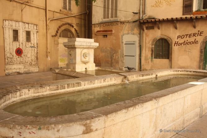 A typical sqaure of Toulon with its fountain, Toulon, French Riviera.